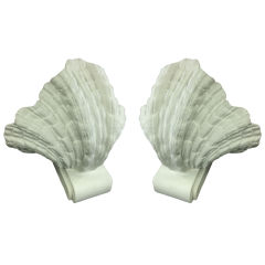 Awesome Pair of Plaster Shell Sconces Designed by Serge Roche