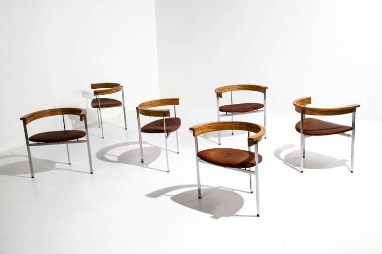 Six Poul Kjaerholm PK 11 Chairs, Original Condition, 1957 For Sale 1