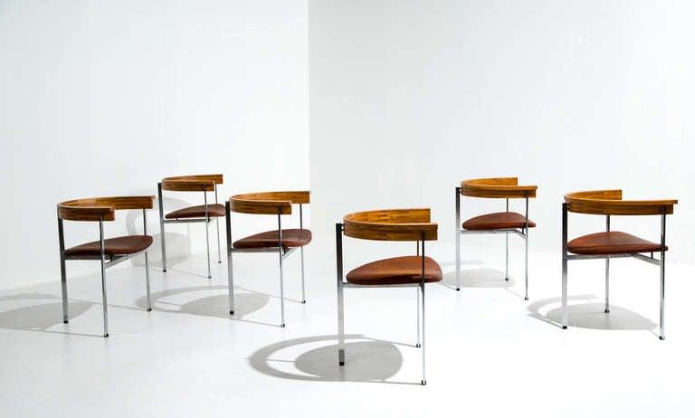 Danish Six Poul Kjaerholm PK 11 Chairs, Original Condition, 1957 For Sale