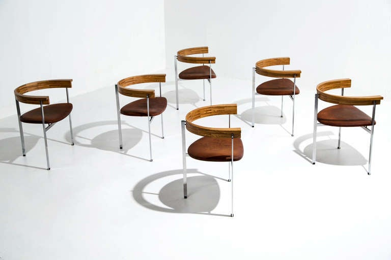 Six Poul Kjaerholm PK 11 Chairs, Original Condition, 1957 In Good Condition For Sale In Houston, TX