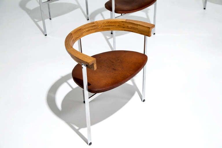 Six Poul Kjaerholm PK 11 Chairs, Original Condition, 1957 For Sale 3