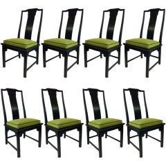 "Eight Asian Modern ""Chin Hua"" Dining Chairs"