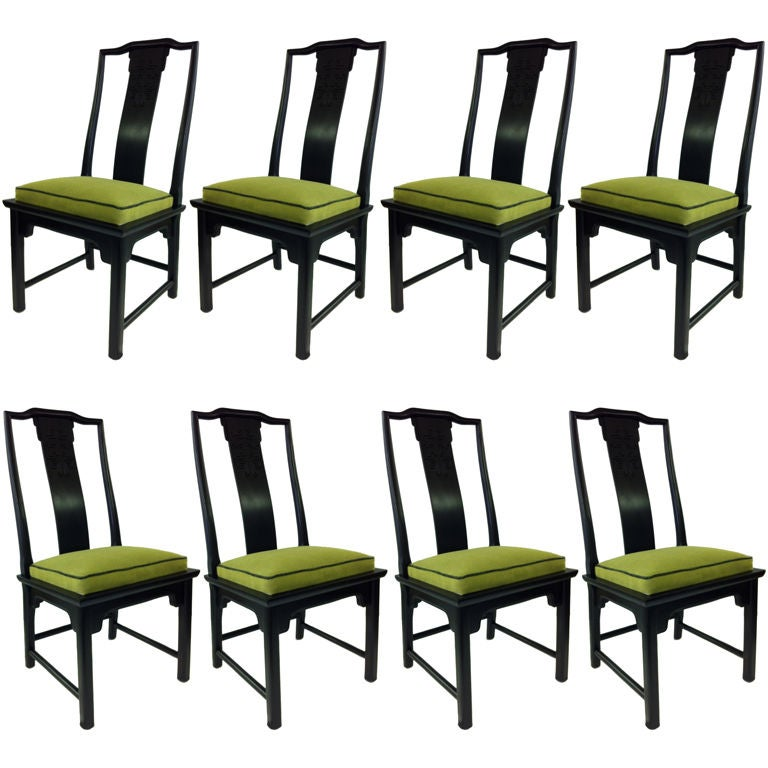 Eight Asian Modern Chin Hua Dining Chairs