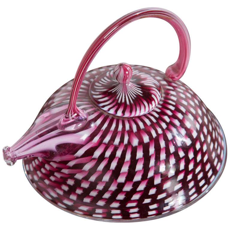 Richard Marquis Blown Glass Signed Teapot Sculpture, 1981
