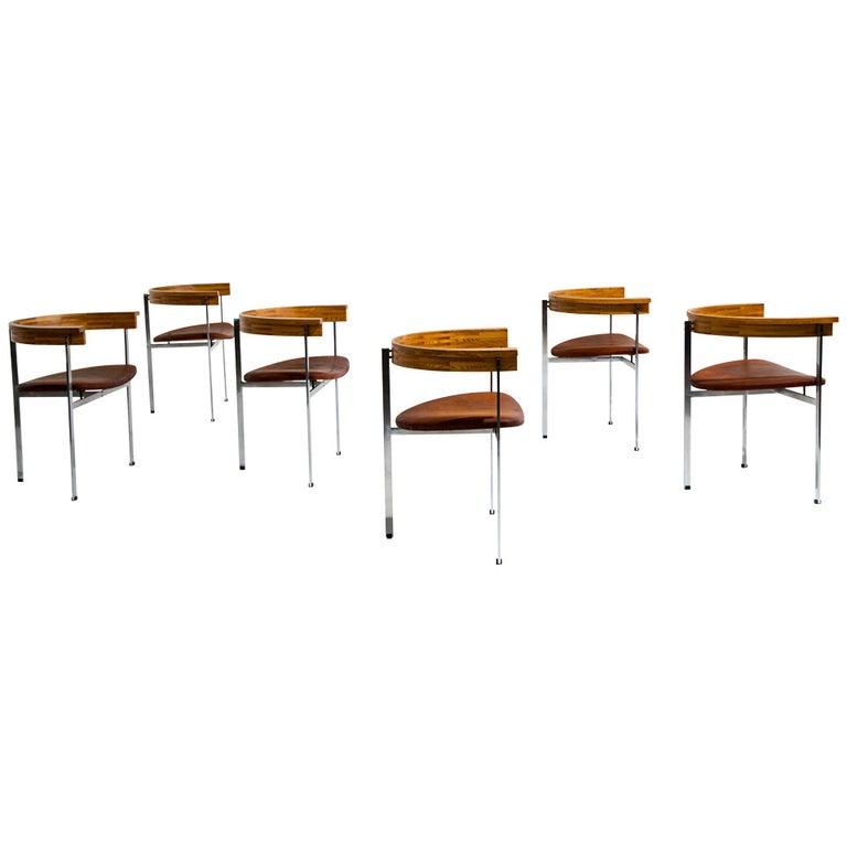 Six Poul Kjaerholm PK 11 Chairs, Original Condition, 1957 For Sale
