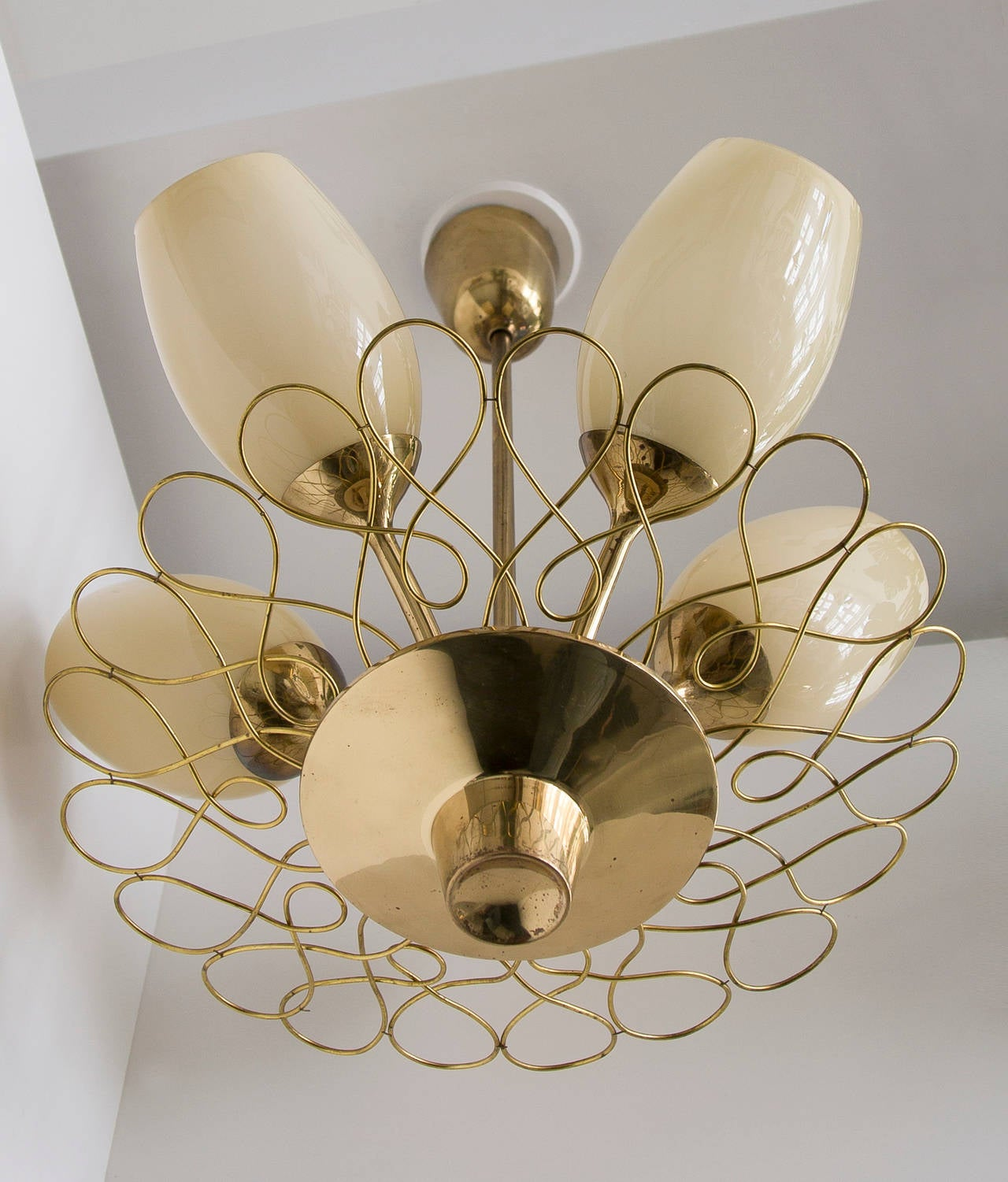 Hand-Crafted Paavo Tynell Ceiling Lamp Taito Oy For Sale