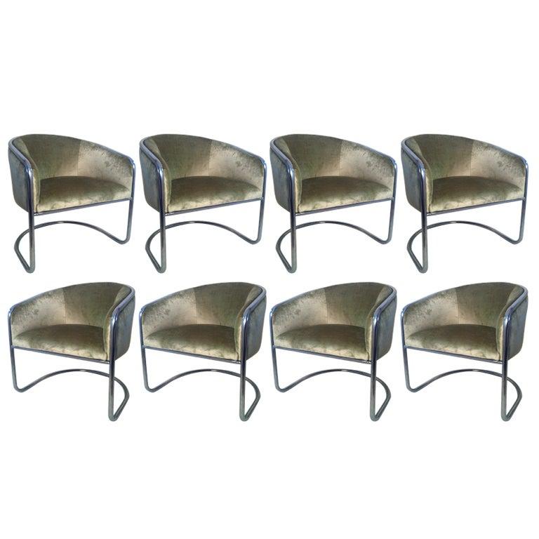 Set Of Eight Chrome Tub Chairs Bt Anton Lorenz For Thonet At 1stdibs