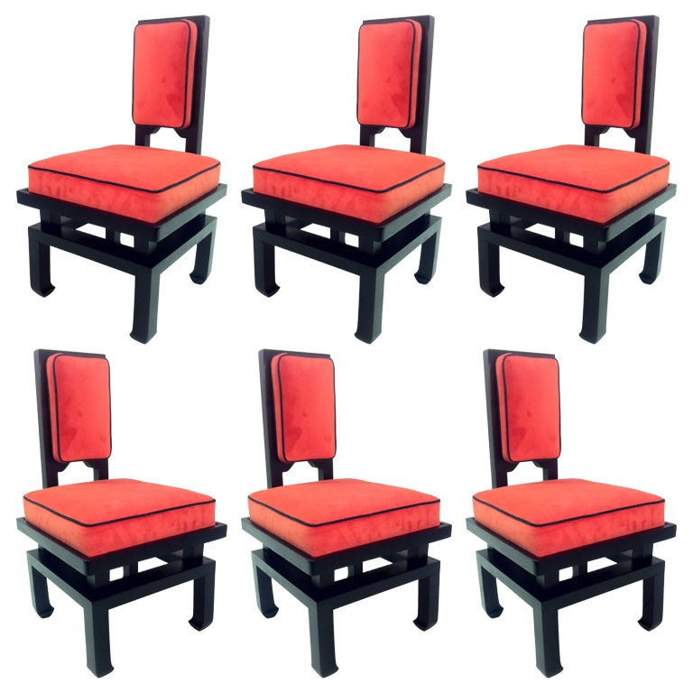 Amazing Set Of Six James Mont Style Dining Chairs At 1stdibs
