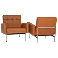 Pair of Florence Knoll Parallel Bar Lounge or Armchairs