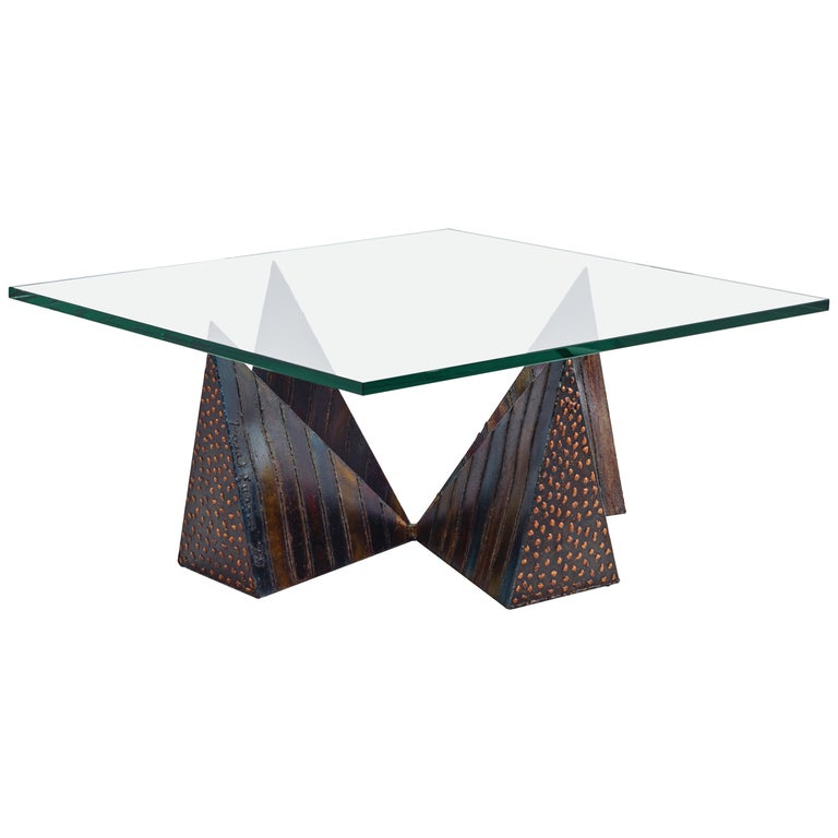 Paul Evans Coffee Table with Signed Pyramid Base and Square Glass Surface 1973 For Sale