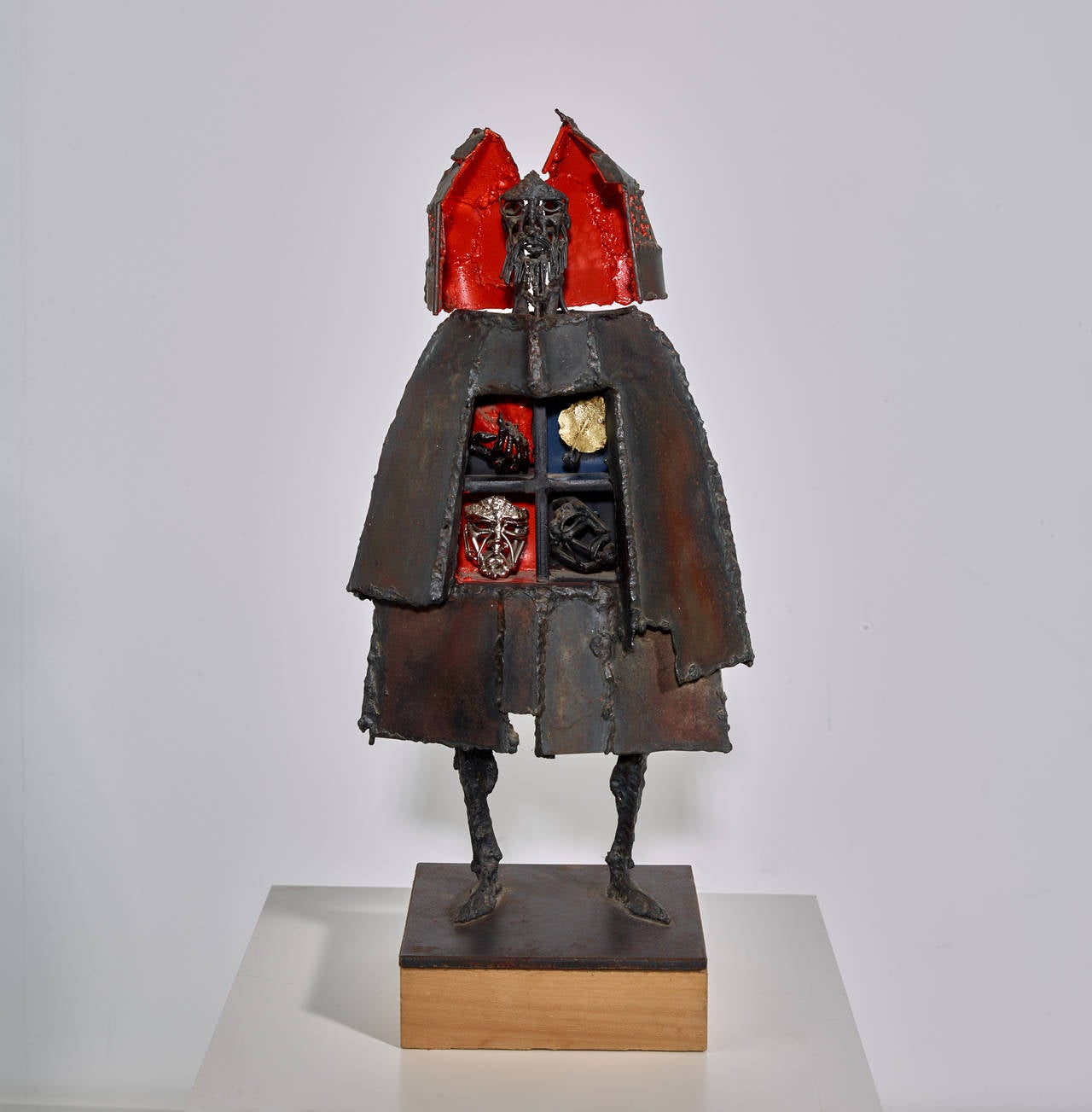 Bob Fowler, welded sculpture on wood base.  USA, circa  Welded sculpture, signed {BF}.  Measures: 20 x 9.5 x 6 inches  USA, circa late 20th century. Welded steel, red paint.