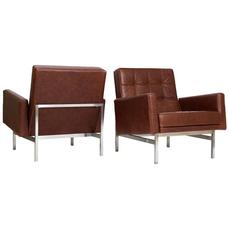 Florence Knoll Lounge Chairs in Leather, 1955