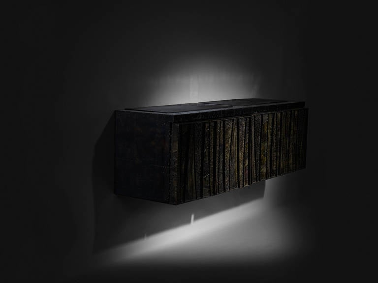 Signed Paul Evans sculptured metal cabinet, bronze bas relief design.