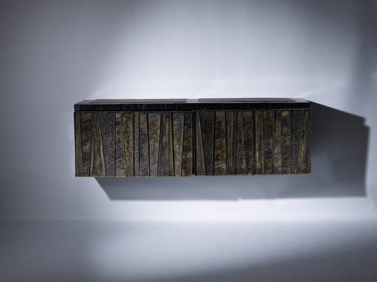 American Craftsman Paul Evans Sculptural Wall Hung Cabinet, PE-42, Early Lacquered Interior, 1967 For Sale