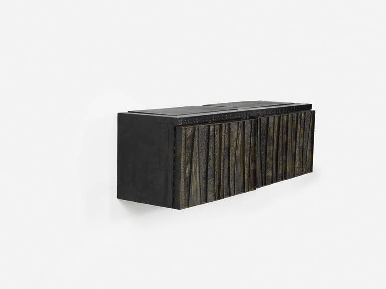 American Paul Evans Sculptural Wall Hung Cabinet, PE-42, Early Lacquered Interior, 1967 For Sale