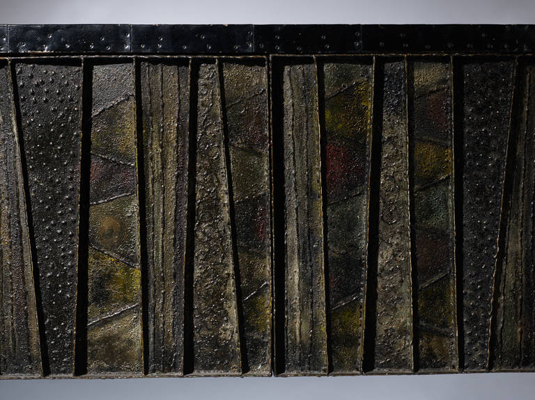 Slate Paul Evans Sculptural Wall Hung Cabinet, PE-42, Early Lacquered Interior, 1967 For Sale