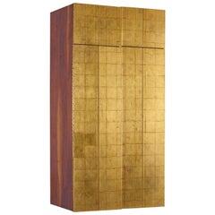 "Phillip Lloyd Powell Wall-Mounted Gold Leaf 60"" Cabinet, 1963"