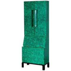 "Early Piero Fornasetti, Rare Illuminated ""Malachite"" Trumeau, 1950s"