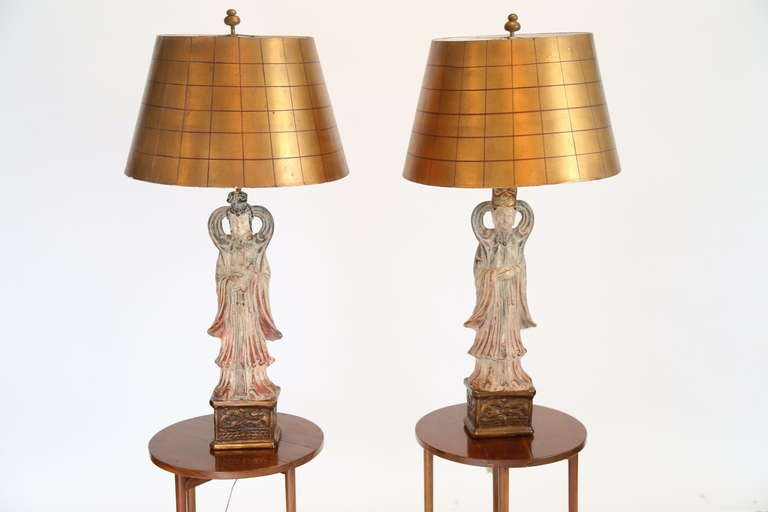 Mid-Century Modern James Mont Style Asian Figure Lamps, 1950s For Sale
