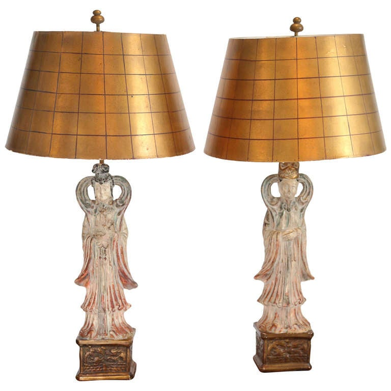 James Mont Style Asian Figure Lamps, 1950s For Sale