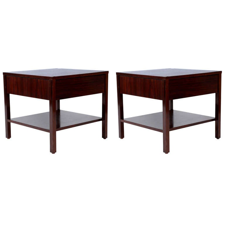 Rare Florence Knoll Rosewood Pair of Nightstands, 1950s