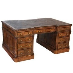 19th C. Walnut Pedestal Partner's Desk