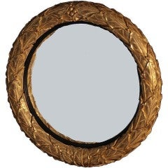 Regency Giltwood Convex Mirror with Laurel Leaf Carved Surround