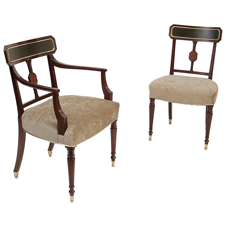 Sheraton Style Furniture set of 14 Sheraton mahogany dining chairs. at 1stdibs