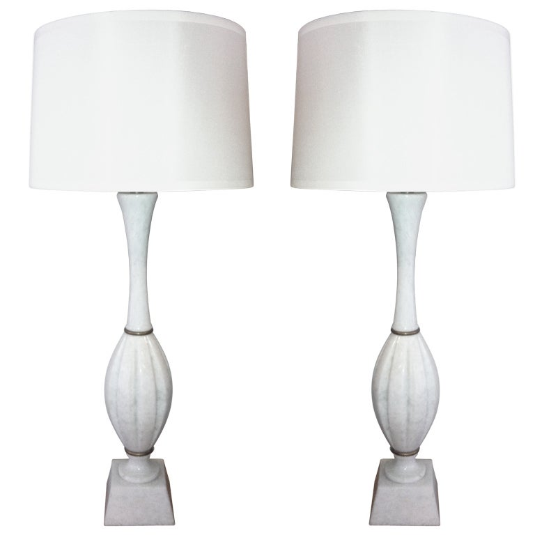 Marble Lamps, Pair For Sale