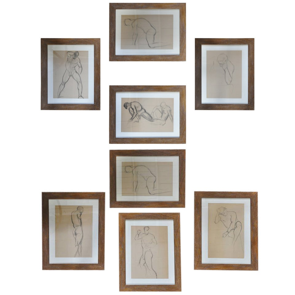 Two Sets of Four 1940s Nude Male Drawings in Charcoal 1