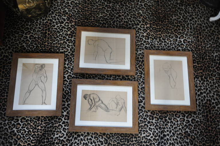 Two Sets of Four 1940s Nude Male Drawings in Charcoal 2