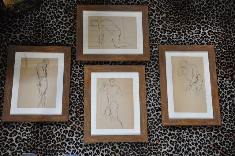Two Sets of Four 1940s Nude Male Drawings in Charcoal 3