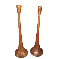 Pair of Tall Hand-Carved Candlesticks
