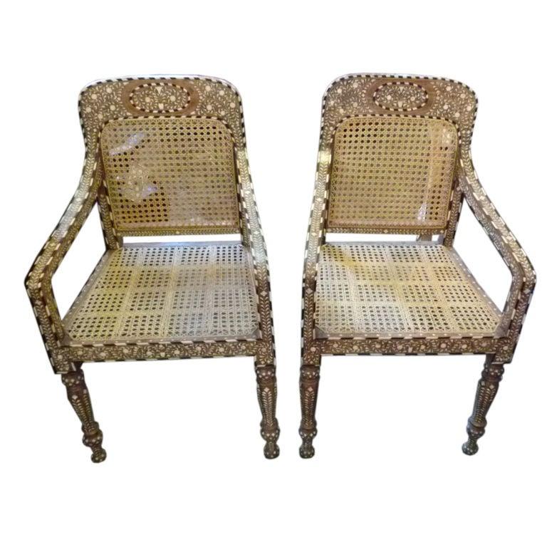 Rajasthani Inlaid Chairs At 1stdibs