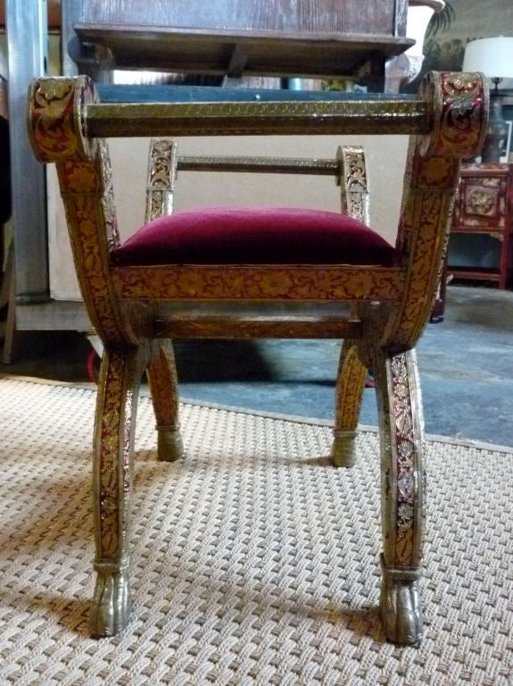 Indian carved bench with velvet seat for sale at stdibs
