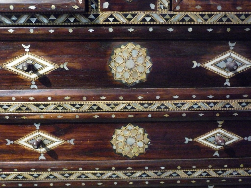 Mother-of-pearl and bone inlaid Syrian chest with marble top.