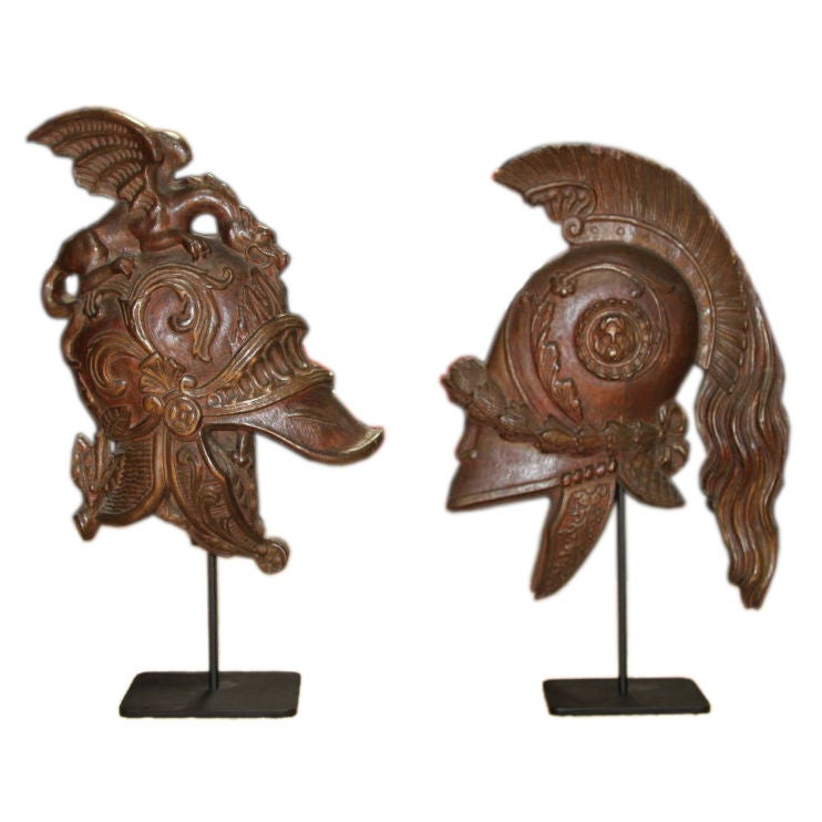 Early 19th c. French Carved Helmets, Pair For Sale