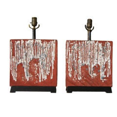 French Art Pottery Lamps, Pair