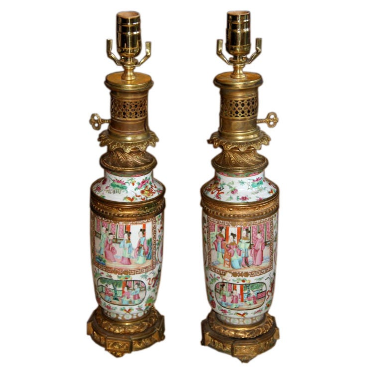 18th Century Chinese Famille Rose Lamps 1