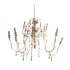 18th Century Style Wood and Iron French Chandelier