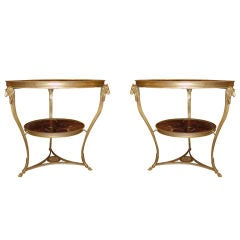 Pair of 19th Century Bronze Gueridon Tables