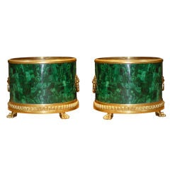 Pair of Malachite Cache Pots