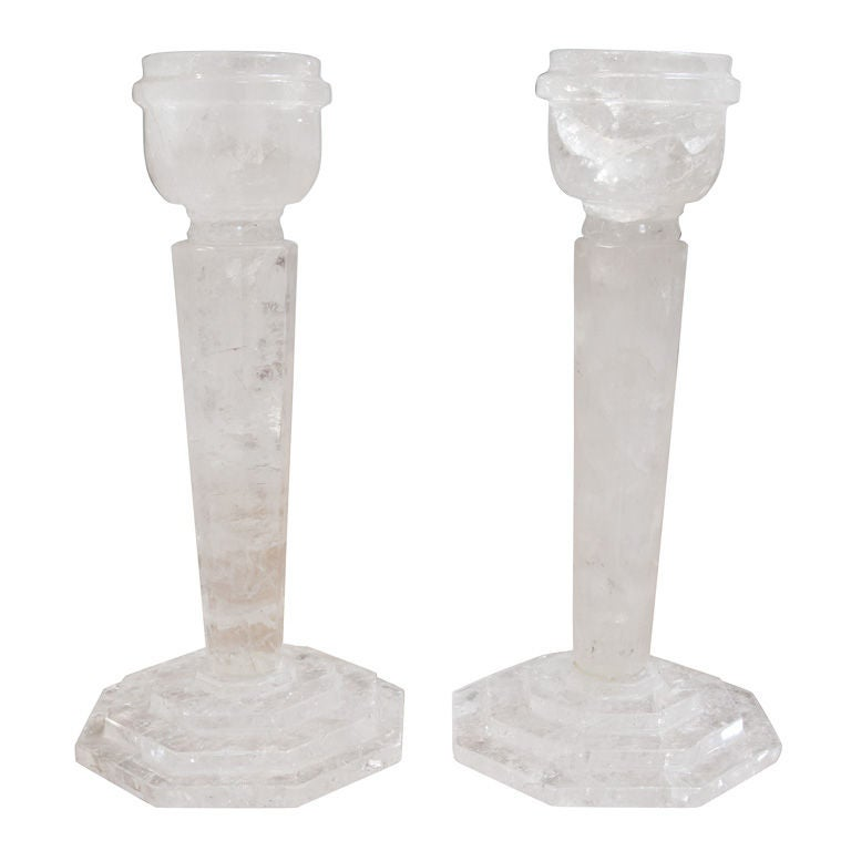 Rock Crystal Candlesticks For Sale