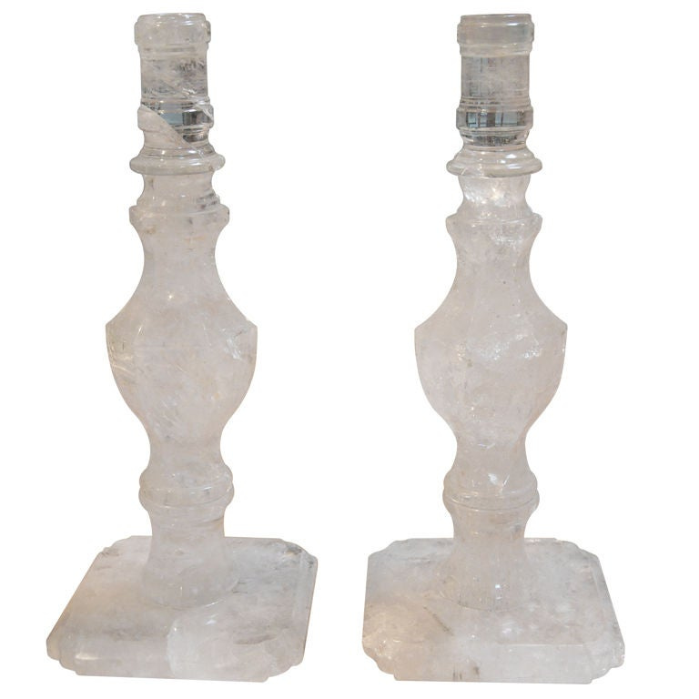 Pair of Rock Crystal Candlesticks