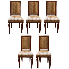 Set of Five 19th C. Italian Chairs