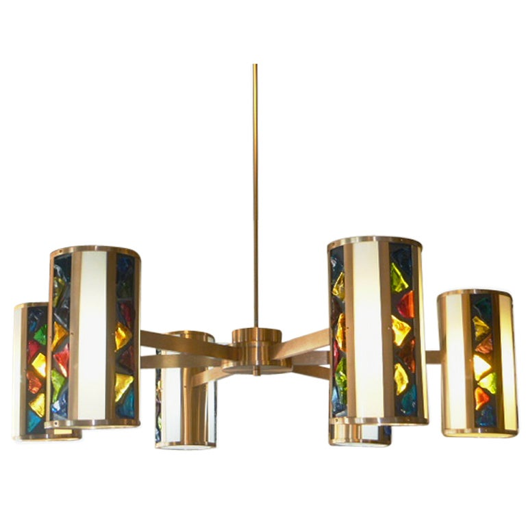 Hanging Colored Glass Brushed Brass Light Fixture