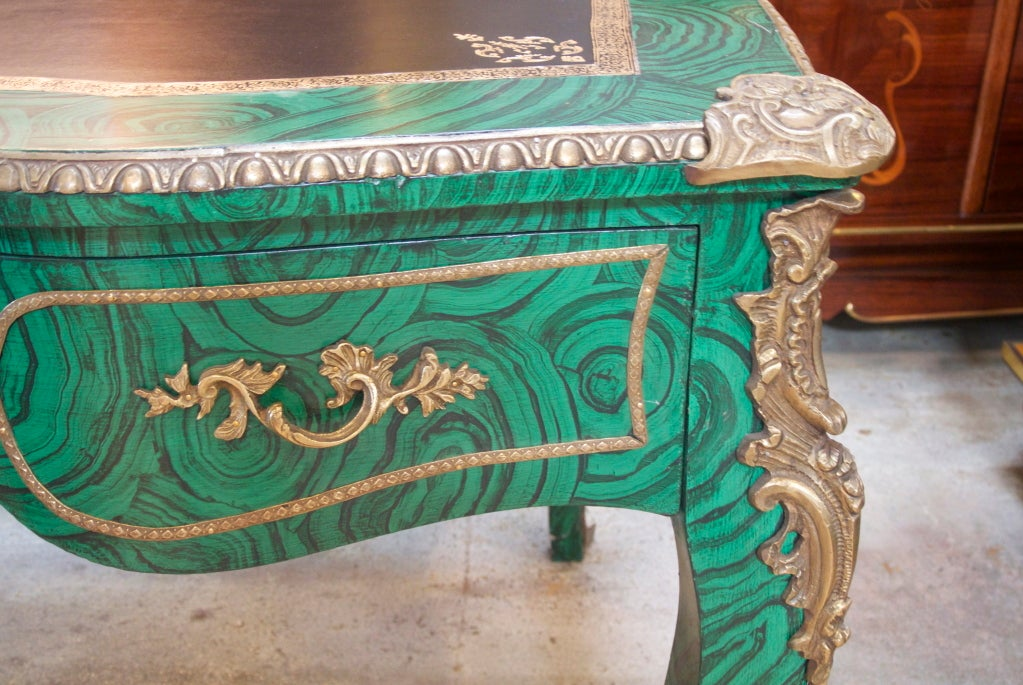 French desk with faux malachite paint and bronze ormolu mounts