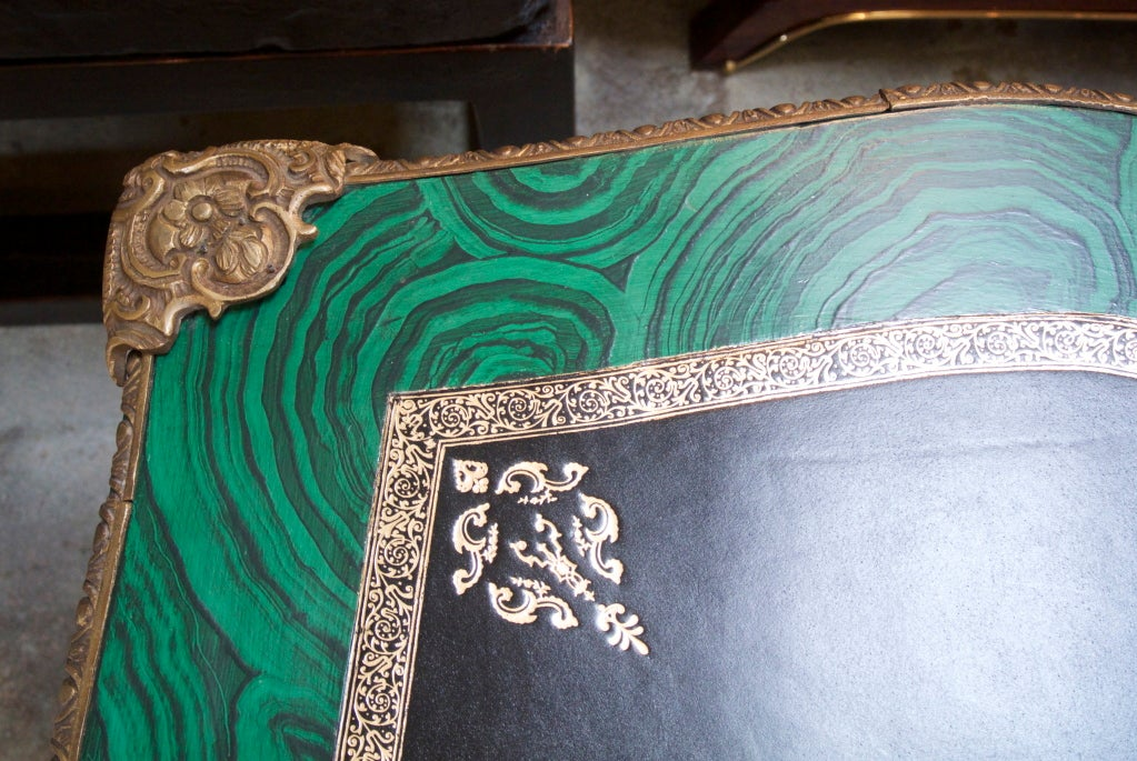Bronze Faux Malachite Desk For Sale