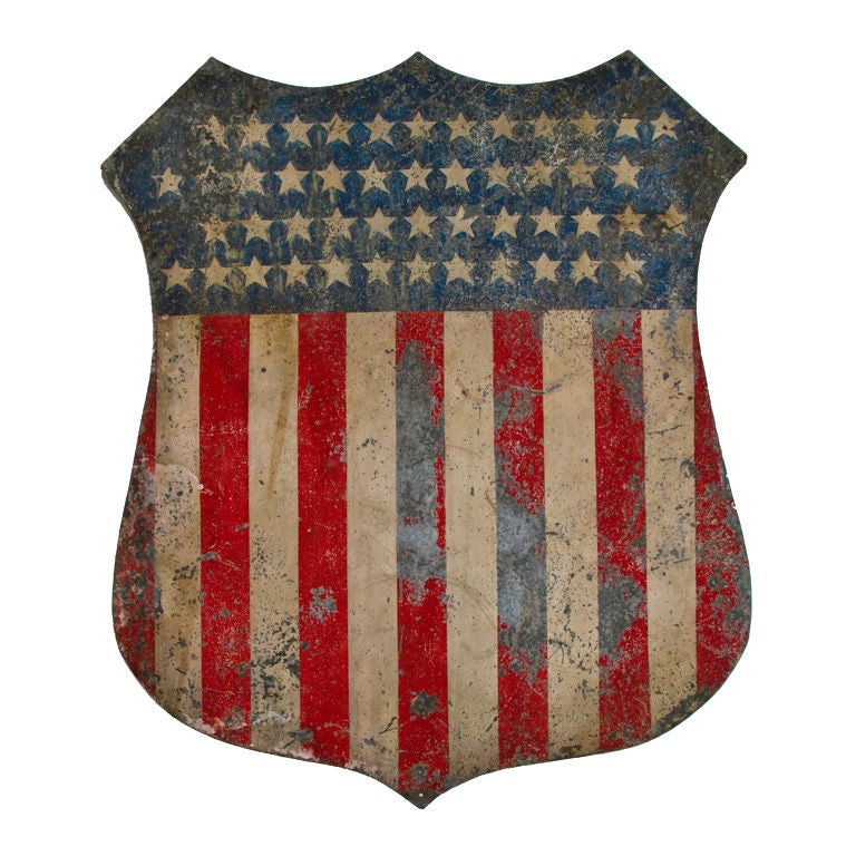 Painted American Patriotic Shield At 1stdibs