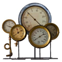Collection of Five Early Industrial Pressure Gauges thumbnail 1